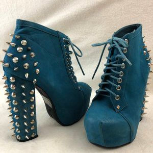 Blue Platform Boots w/Metal Spikes Lace up Suede 6